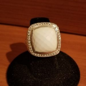David Yurman diamond white agate ring